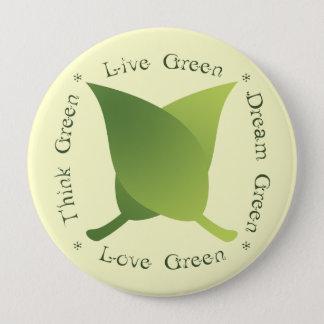 Livegrün, denke ökologisch, Traumgrün, Liebegrün Runder Button 10,2 Cm