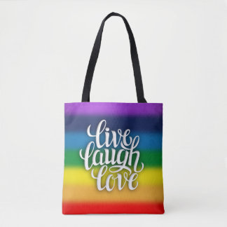 Livelachen-Liebe-Regenbogen ganz vorbei - drucken Tasche