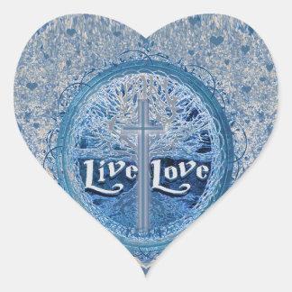 LiveLiebe-Kreuz-blauer Baum des Leben-Musters Herz-Aufkleber
