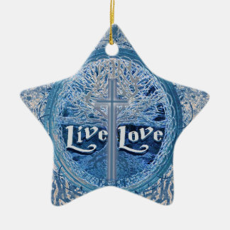 LiveLiebe-Kreuz-blauer Baum des Leben-Musters Keramik Ornament