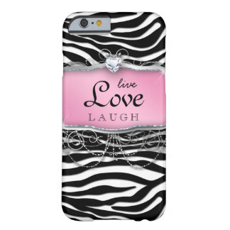 LiveLiebe-Lachen iPhone 6 Fall Abdeckungzebra-Rosa Barely There iPhone 6 Hülle