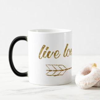 LiveLiebe-Lachen-Pfeil-GoldGlitter-Schein-Tasse Verwandlungstasse