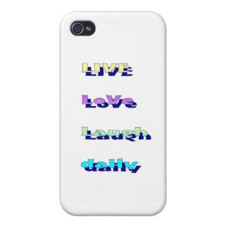 LiveLiebe-Lachen täglich in den Multi-Farben iPhone 4/4S Cover