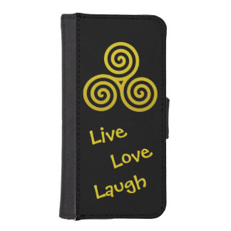 LiveLiebelachen der Golddreifachen Spirale I Phone 5 Portmonees