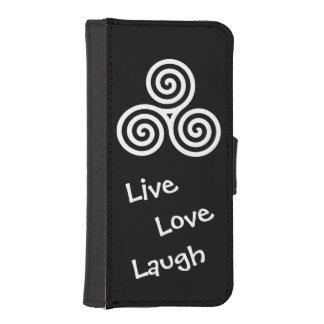 LiveLiebelachen der weißen dreifachen Spirale iPhone 5 Portmonnaies