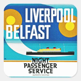 Liverpool- - Belfast-Fähre Quadratischer Aufkleber