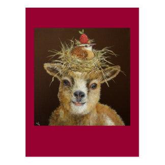 Livin hoch auf der Ziegenpostkarte Postkarte