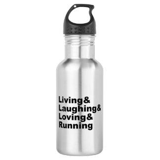 Living&Laughing&Loving&RUNNING (Schwarzes) Edelstahlflasche