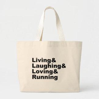 Living&Laughing&Loving&RUNNING (Schwarzes) Jumbo Stoffbeutel
