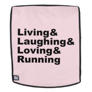 Living&Laughing&Loving&RUNNING (Schwarzes) Rucksack