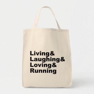 Living&Laughing&Loving&RUNNING (Schwarzes) Tragetasche