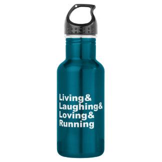 Living&Laughing&Loving&RUNNING (weiß) Edelstahlflasche