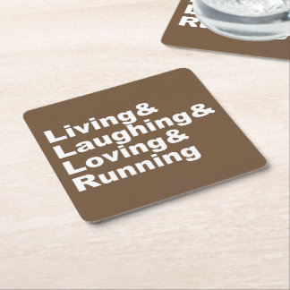 Living&Laughing&Loving&RUNNING (weiß) Rechteckiger Pappuntersetzer