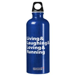 Living&Laughing&Loving&RUNNING (weiß) Wasserflasche