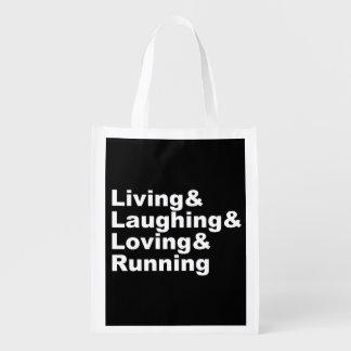 Living&Laughing&Loving&RUNNING (weiß) Wiederverwendbare Einkaufstasche