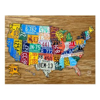 Lizenz-Platten-Karte der USA reisen die 50 Staaten Postkarte