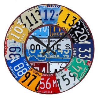 Lizenz-Platten-Uhr-Vintage Zahl-Auto-Umbau-Kunst 2 Große Wanduhr