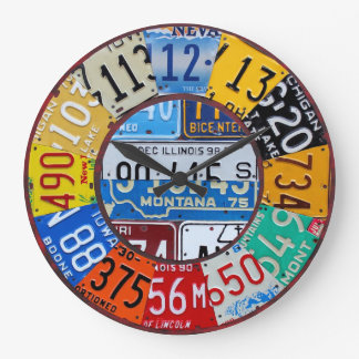 Lizenz-Platten-Uhr-Vintage Zahl-Auto-Umbau-Kunst Große Wanduhr