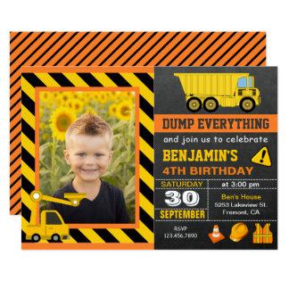 LKW-Bau-Geburtstags-Party-Foto-Einladung 12,7 X 17,8 Cm Einladungskarte