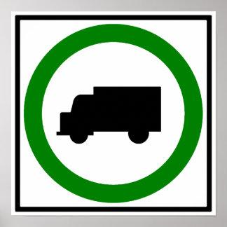 LKW-Verkehrs-die Erlaubnis gehabtes Landstraßen-Ze Poster