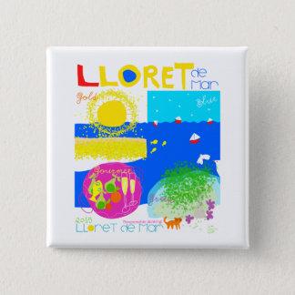 Lloret de Mar-Costa Brava. 2 Zoll-quadratischer Quadratischer Button 5,1 Cm