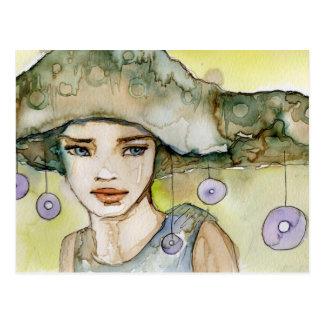 llustration eines schönen, empfindlichen Mädchens Postkarte