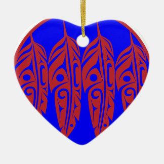 LNeel-Vier-Feder-Rot-Blau Keramik Ornament