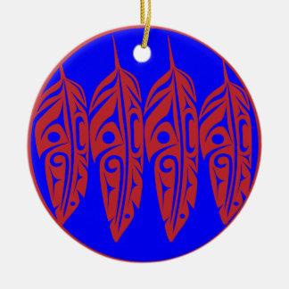 LNeel-Vier-Feder-Rot-Blau Rundes Keramik Ornament