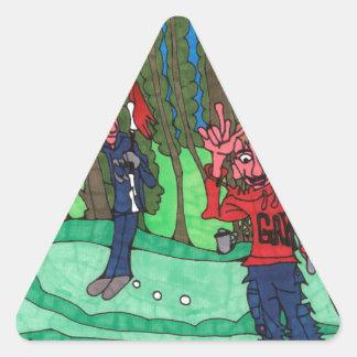 Loch in einem dreieckiger aufkleber