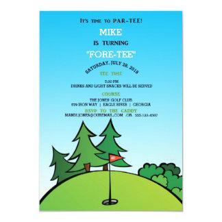 Loch in einer Golf-Geburtstags-Party Einladung
