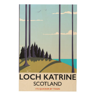 Loch katrine Schottland-Reiseplakat Holzdruck