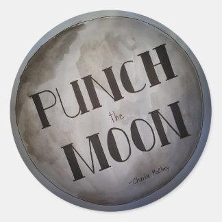 Lochen Sie die Mondprodukte Runder Aufkleber