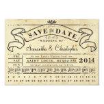 Lochkarte-Vintage Karten-Fahne Save the Date 8,9 X 12,7 Cm Einladungskarte