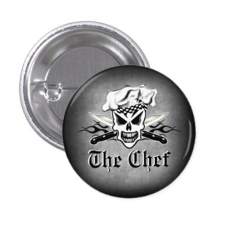 Lodernde Kochs-Messer 2 Kochs-Schädel-ADN Runder Button 3,2 Cm