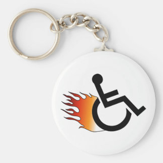Lodernder Rollstuhl Standard Runder Schlüsselanhänger