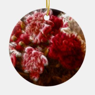 Lodernder roter Pfingstrosen-Blumen-Blumenstrauß Keramik Ornament
