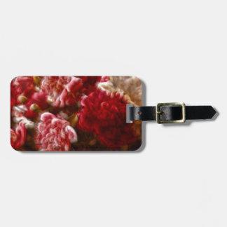 Lodernder roter Pfingstrosen-Blumen-Blumenstrauß Kofferanhänger