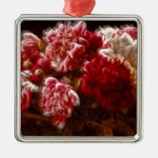 Lodernder roter Pfingstrosen-Blumen-Blumenstrauß Quadratisches Silberfarbenes Ornament