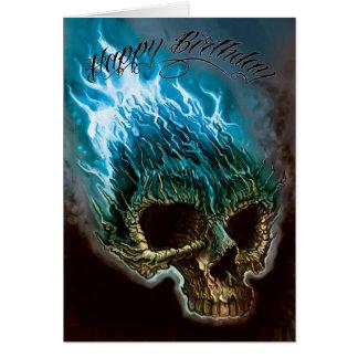 Lodernder Schädel-Geburtstag Grußkarte