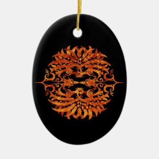 Loderndes Stammes- Phoenix Keramik Ornament