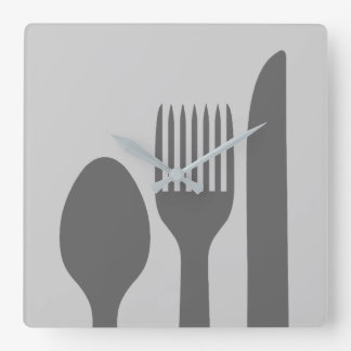 Löffel-Messer-Gabel-Grafik Quadratische Wanduhr
