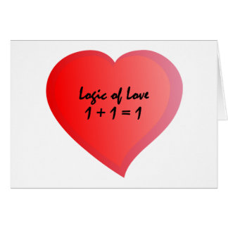 Logik von Liebe eine plus eine wird eine Karte