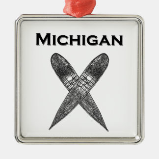 Logo Michigans Showshoes Silbernes Ornament