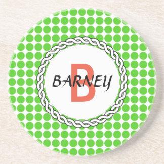 Logo mit grünen Tupfen Getränkeuntersetzer