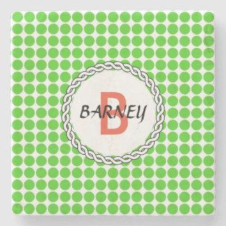 Logo mit grünen Tupfen Steinuntersetzer