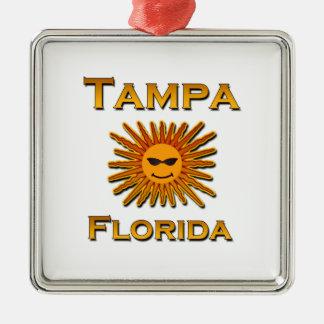 Logo Tampas Florida Sun Quadratisches Silberfarbenes Ornament