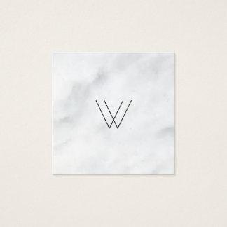 Logo-Weiß-Marmor Quadratische Visitenkarte
