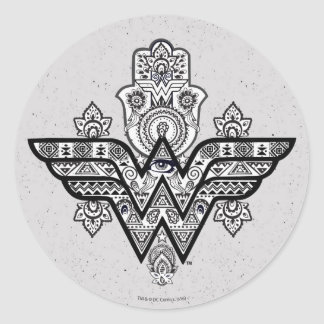 Logo Wunder-Frauen-geistiges Paisleys Hamsa Runder Aufkleber