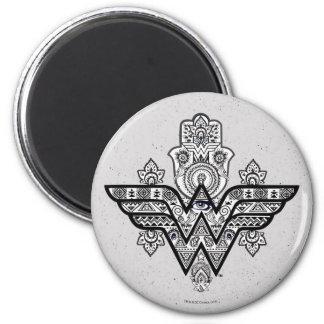 Logo Wunder-Frauen-geistiges Paisleys Hamsa Runder Magnet 5,1 Cm