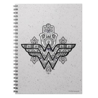 Logo Wunder-Frauen-geistiges Paisleys Hamsa Spiral Notizblock